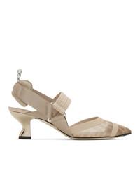 Zapatos de tacón de malla en beige de Fendi