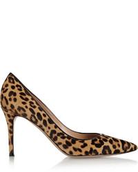 Zapatos de tacón de pelo de becerro de leopardo marrón claro de Gianvito Rossi