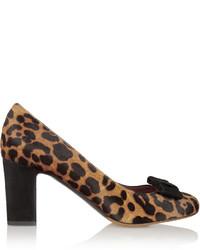 Zapatos de tacón de pelo de becerro de leopardo marrón claro de Tabitha Simmons