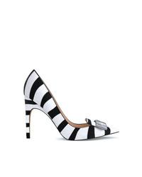 Zapatos de tacón de pelo de becerro de rayas horizontales en blanco y negro