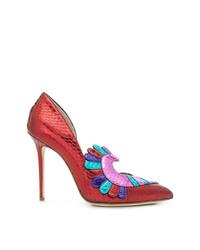 Zapatos de tacón de pelo de becerro rojos de Paula Cademartori
