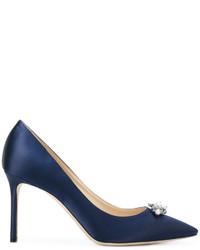 Zapatos de Tacón de Satén Azul Marino de Jimmy Choo