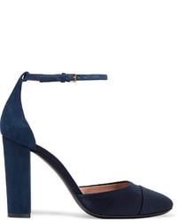 Zapatos de tacón de satén azul marino de Tory Burch