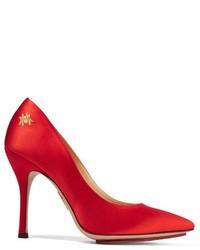 Zapatos de Tacón de Satén con Adornos Rojos de Charlotte Olympia