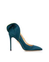 Zapatos de tacón de satén en verde azulado de Charlotte Olympia