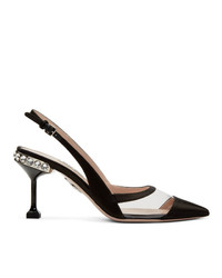 Zapatos de tacón de satén negros de Miu Miu