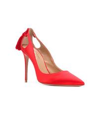 Zapatos de Tacón de Satén Rojos de Aquazzura