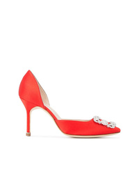 Zapatos de tacón de satén rojos de Manolo Blahnik