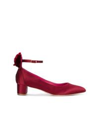 Zapatos de tacón de satén rojos de Oscar Tiye