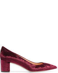 Zapatos de tacón de terciopelo burdeos