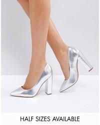 Zapatos de tacón plateados de Asos
