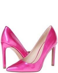 5f4dba9868643 Vestido skater estampado en multicolor Zapatos de tacón de cuero rosa ...
