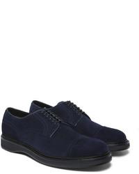Zapatos derby de ante azul marino de Brioni