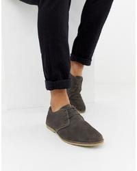Zapatos derby de ante en gris oscuro de ASOS DESIGN