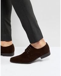 Zapatos derby de ante en marrón oscuro de Asos