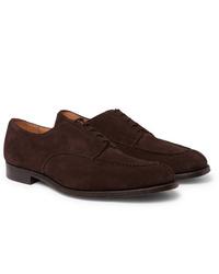 Zapatos derby de ante en marrón oscuro de Tricker's