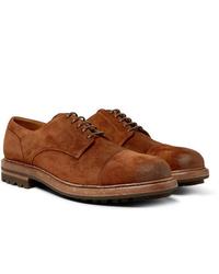 Zapatos derby de ante en tabaco de Brunello Cucinelli