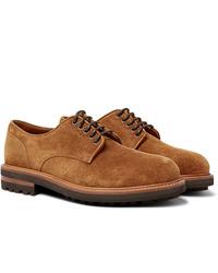 Zapatos derby de ante marrón claro de Brunello Cucinelli