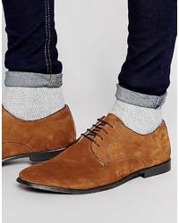 Zapatos derby de ante marrónes de Asos
