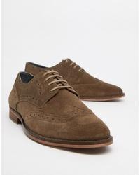 Zapatos derby de ante marrónes de WALK LONDON