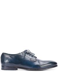 Zapatos derby de cuero azul marino de Officine Creative