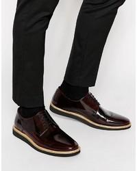 Zapatos derby de cuero burdeos de Asos