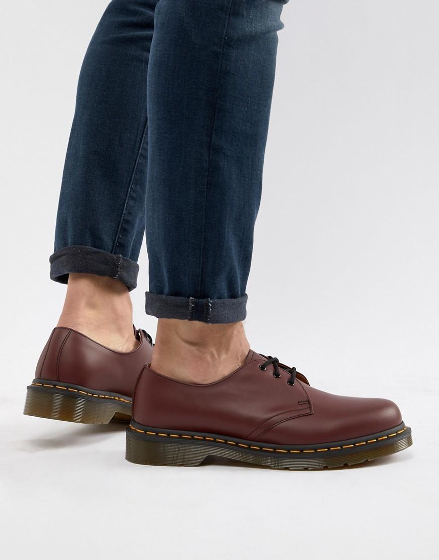 Zapatos derby de cuero burdeos de Dr. Martens