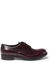 Zapatos derby de cuero burdeos de Prada