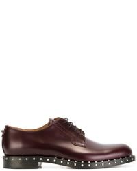 Zapatos derby de cuero burdeos de Valentino Garavani