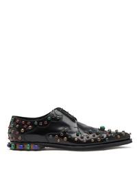 Zapatos derby de cuero con adornos negros de Dolce & Gabbana