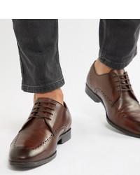 Zapatos derby de cuero en marrón oscuro de ASOS DESIGN
