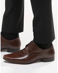 Zapatos derby de cuero en marrón oscuro de Asos