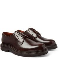 Zapatos derby de cuero en marrón oscuro de Brunello Cucinelli