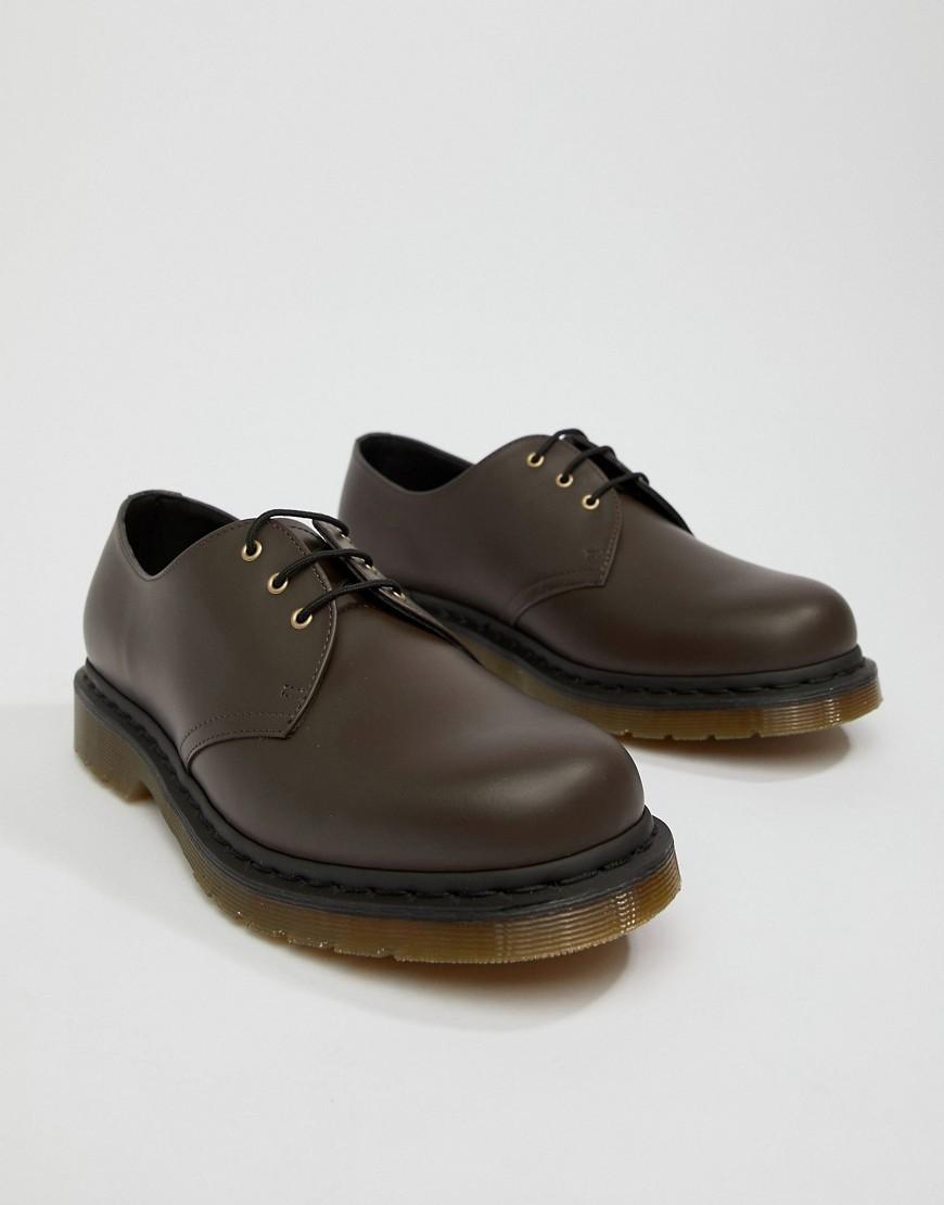 Zapatos derby de cuero en marrón oscuro de Dr. Martens