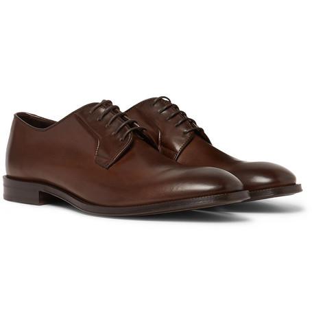 Zapatos derby de cuero en marrón oscuro de Paul Smith