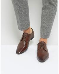 Zapatos derby de cuero en marrón oscuro de Silver Street