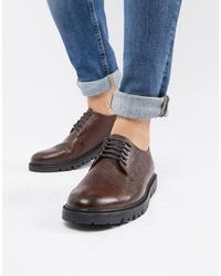 Zapatos derby de cuero en marrón oscuro de WALK LONDON