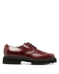 Zapatos derby de cuero gruesos burdeos de Gucci