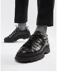 Zapatos derby de cuero gruesos negros