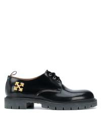 Zapatos derby de cuero gruesos negros de Off-White