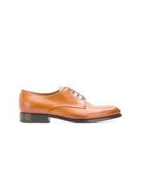 Zapatos derby de cuero marrón claro de Giorgio Armani