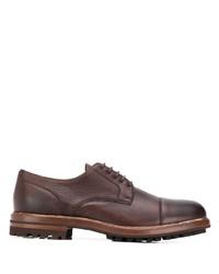 Zapatos derby de cuero marrónes de Brunello Cucinelli