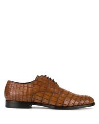 Zapatos derby de cuero marrónes de Dolce & Gabbana