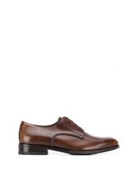 Zapatos derby de cuero marrónes de Salvatore Ferragamo