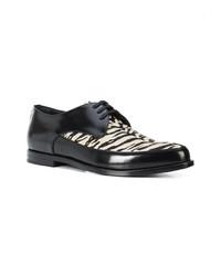 Zapatos Derby de Cuero Negros y Blancos de Saint Laurent