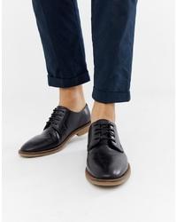 Zapatos derby de cuero negros de ASOS DESIGN