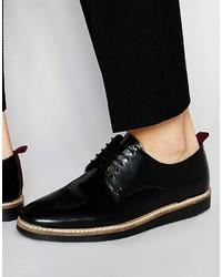 Zapatos derby de cuero negros de Asos
