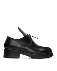 Zapatos derby de cuero negros de Raf Simons