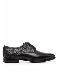 Zapatos derby de cuero negros de Salvatore Ferragamo