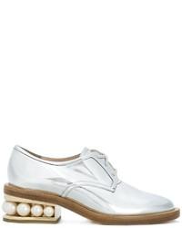 Zapatos Derby de Cuero Plateados de Nicholas Kirkwood